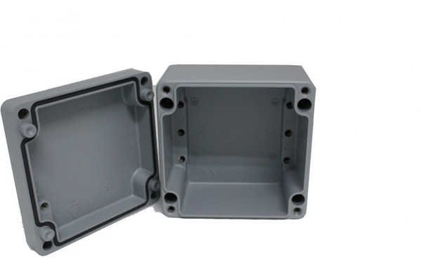 Aluminium-Druckguss-Gehäuse efabox 120x122x81mm IP68 Silikondichtung RAL7001 Silbergrau