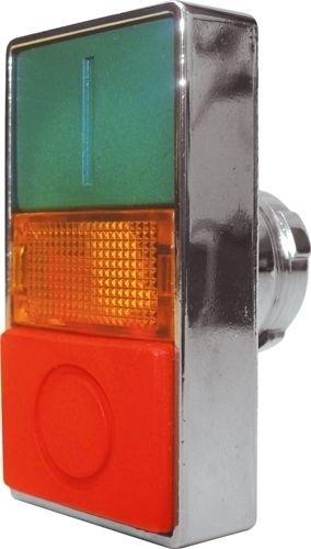 Doppeldrucktaster Metall bündig Grün (I) vorstehend Rot (O) Meldeleuchte Orange