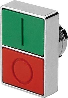 Doppeldrucktaster Metall bündig Grün (I) vorstehend Rot (O)
