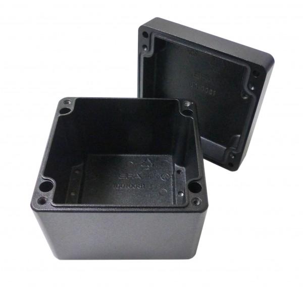 Aluminium-Druckguss-Gehäuse efabox 100x100x81mm IP68 Silikondichtung RAL9005 Schwarz