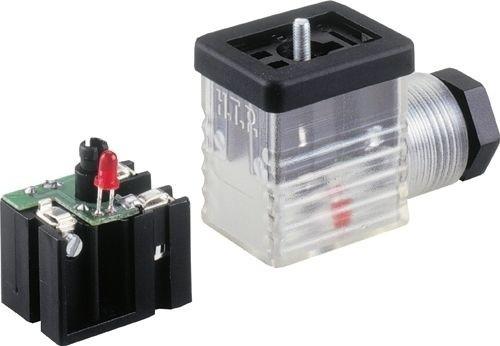 Ventilstecker Bauform BI (11mm) Höhe 30mm 2+PE mit LED Rot (bipolar) 24V PG9