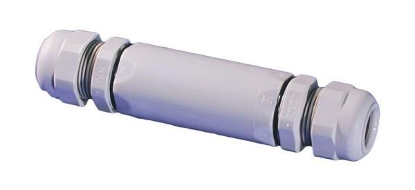 Kabelverbindungsmuffe mit Klemmeinsatz und SKV mit FlammschutzIP 68, RAL7035 grau, 788/6/SKV 21, 5x (1,5-6), 10-18 mm