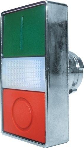 Doppeldrucktaster Metall bündig Grün (I) bündig Rot (O) Meldeleuchte Weiß