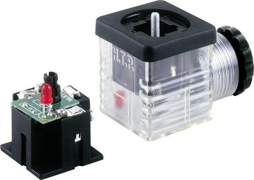 Ventilstecker Bauform A (18mm) Höhe 30mm 2+PE mit Brückengleichrichter + Varistor + LED Rot 115V PG9/11