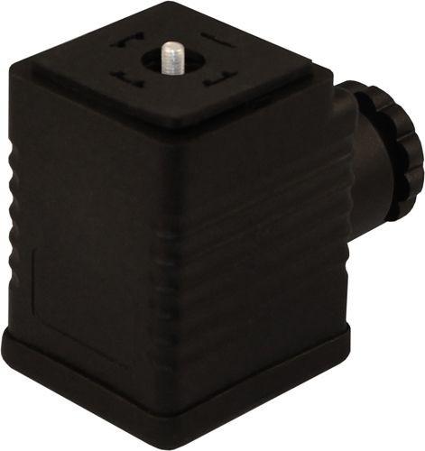 Ventilstecker Bauform A (18mm) Höhe 47mm 2+PE mit Einweggleichrichter + Varistor + RC-Glied 12V PG9/11