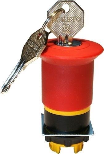 Pilzdrucktaster Plastik 40mm überlistungssicher Schlüsselentriegelung 455 Rot