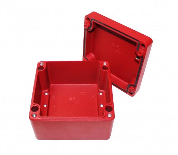 Aluminium-Druckguss-Gehäuse efabox 120x122x91mm IP68 Silikondichtung RAL3001 Rot