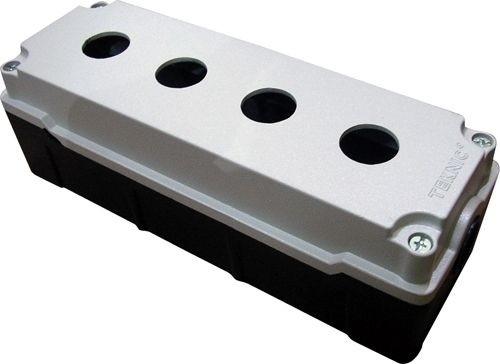 Leergehäuse Aluminium Schwerkraftguß 4 Löcher Unterteil: Schwarz Deckel: Grau (RAL 7032) 93x225x72mm