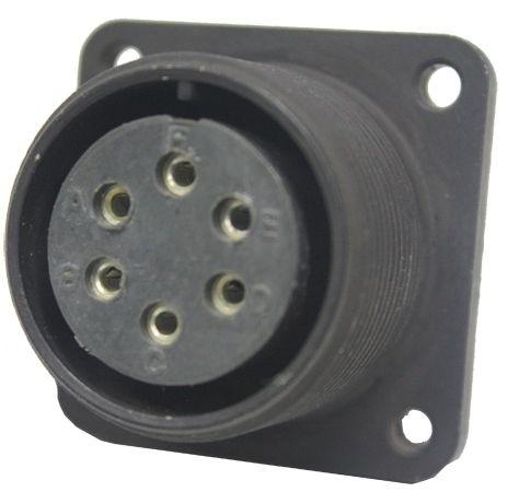 Gerätesteckdose MIL-C-5015 eloxiert 3102R 18-12 Buchse 6P 13A 500VAC