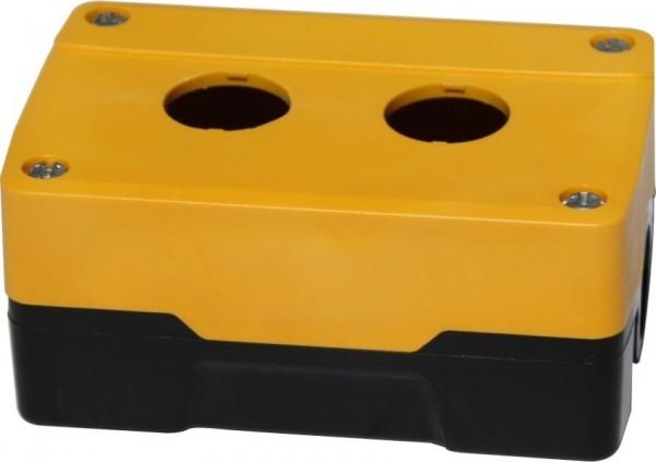 Leergehäuse PC 2 Löcher Unterteil: Schwarz Deckel: Gelb 113x73x51mm