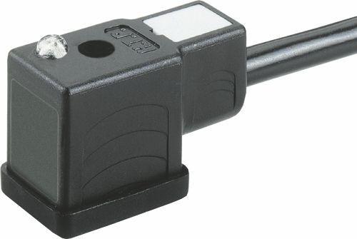 Ventilstecker Bauform BI (11mm) Höhe 27,2mm 2+2PE mit LED Rot (bipolar) 12V 3x0,5 PVC 1m