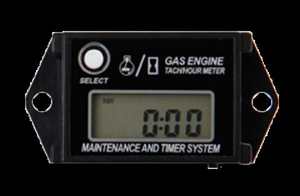 Betriebsstundenzähler & Drehzahlmesser, induktiv, rücksetzbar, LCD-Anzeige, Stunden & Minuten, Wartungsintervall, Batteriebetrieb, 2 Kabel, IP68