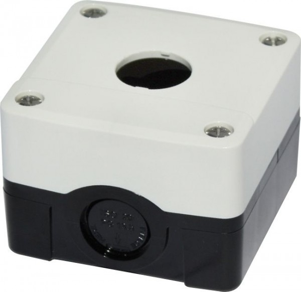 Leergehäuse PC 1 Loch Unterteil: Schwarz Deckel: Weiß 73x73x51mm