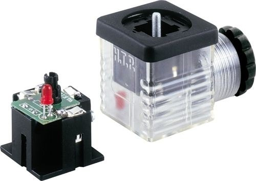 Ventilstecker Bauform A (18mm) Höhe 30mm 2+PE mit Diode + LED Rot 12V PG9/11