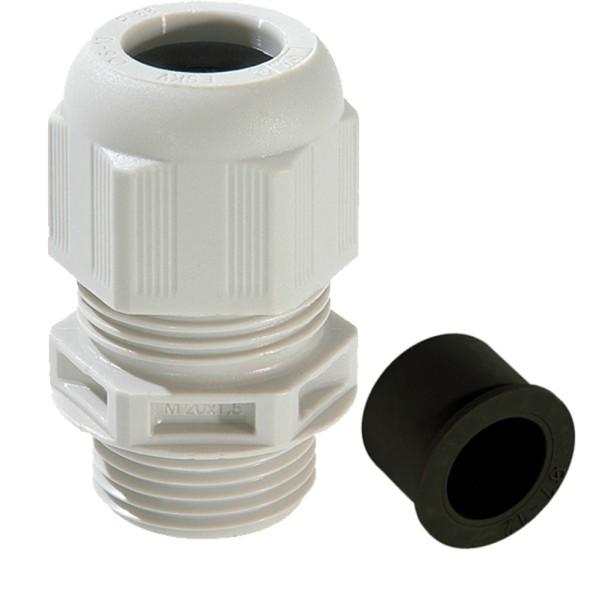 SPRINT-Kabelverschraubung mit Zugentlastung und Reduzierdichteinsatz, IP 68, Polyamid, RAL7035 grau, ESKV-RDE 20, M20x1,5, 4 - 13 mm