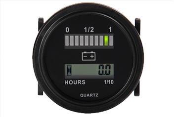 Batteriestandsanzeige & Betriebsstundenzähler, LED-Balkenanzeige + LCD-Anzeige, rund, 20mA, 12-72VDC, IP65