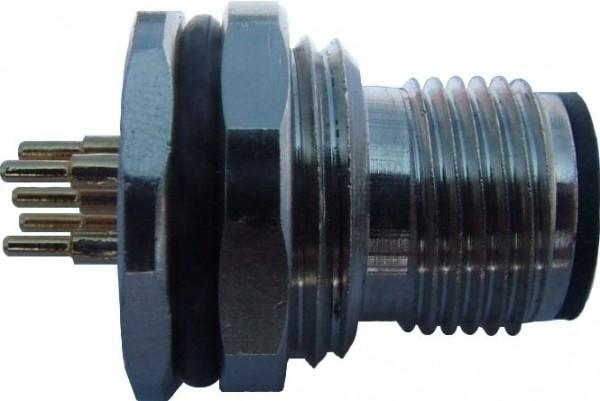 Sensorstecker M12 B-Codierung Stift Hinterwandmontage PG9 Lötanschluß 5P Panel Cut