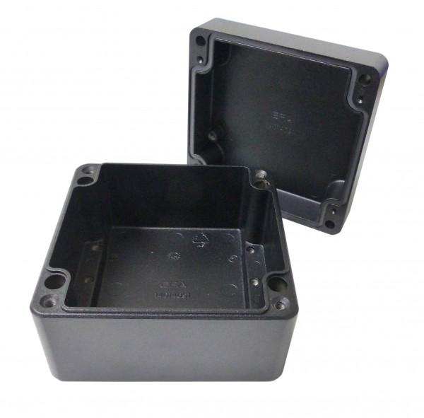 Aluminium-Druckguss-Gehäuse efabox 140x140x91mm IP68 Silikondichtung RAL9005 Schwarz