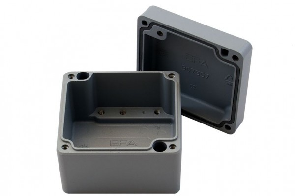 Aluminium-Druckguss-Gehäuse efabox 75x80x57mm IP68 Silikondichtung RAL7001 Silbergrau