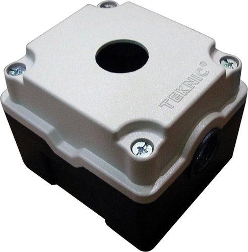 Leergehäuse Aluminium Schwerkraftguß 1 Loch Unterteil: Schwarz Deckel: Grau (RAL 7032) 93x90x72mm