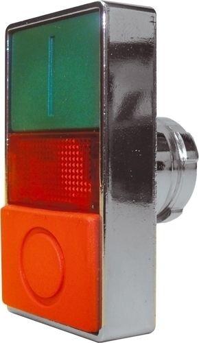 Doppeldrucktaster Metall bündig Grün (I) vorstehend Rot (O) Meldeleuchte Rot