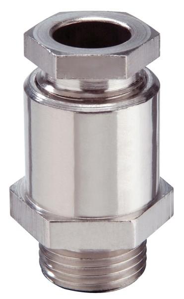 EMV-Kabelverschraubung aus Messing, Dichtring aus EPDM, Messing vernickelt, mit Erdungseinsatz und 6kant Stutzen, KVMS 30-Z18 Ni, M30x1,5, 16 - 18,5 mm