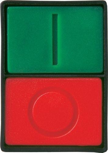 Doppeldrucktaster Plastik bündig Grün (I) bündig Rot (O)