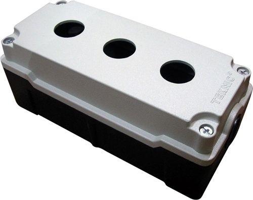 Leergehäuse Aluminium Schwerkraftguß 3 Löcher Unterteil: Schwarz Deckel: Grau (RAL 7032) 80x180x52mm
