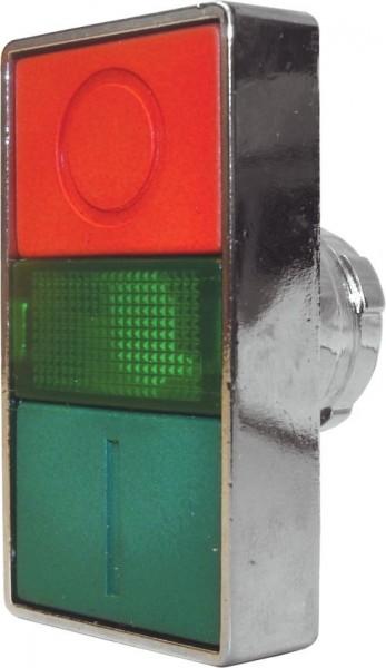 Doppeldrucktaster Metall bündig Grün (I) bündig Rot (O) Meldeleuchte Grün