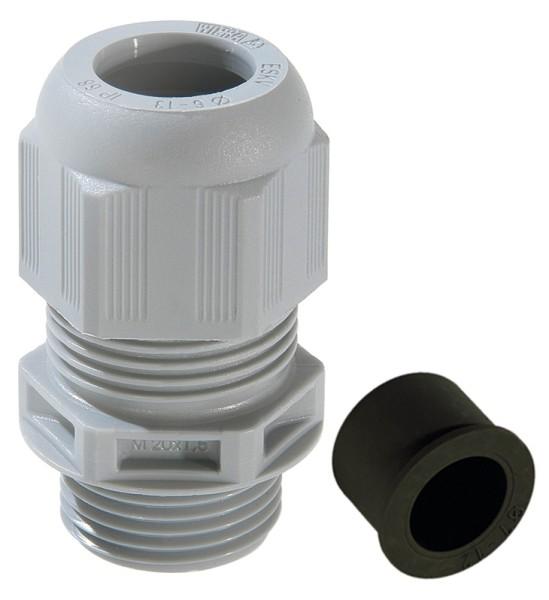 SPRINT-Kabelverschraubung mit Zugentlastung und montiertem Reduzierdichteinsatz, IP 68, Polyamid, RAL7001 grau, ESKV-RDE 63, M63x1,5, 28 - 48 mm