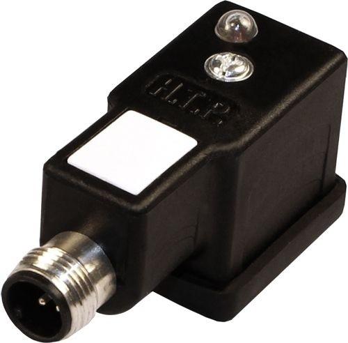 Ventilstecker Bauform BI (11mm) Höhe 27,2mm 2+2PE mit Diode + LED Rot 12V - Sensorstecker M12 Stift 5P