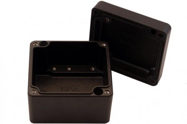 Aluminium-Druckguss-Gehäuse efabox 75x80x57mm IP68 Silikondichtung RAL9005 Schwarz