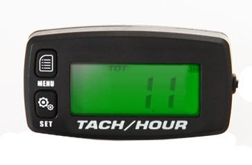 Betriebsstundenzähler & Drehzahlmesser, induktiv, rücksetzbar, LCD-Anzeige beleuchtet, Drehzahlwarnung, Batteriebetrieb, 1 Kabel, IP65
