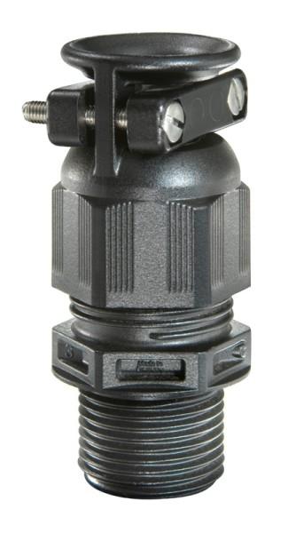 SPRINT-Kabelverschraubung mit externer Zugentlastung, lang RAL9005 schwarz, ESKVZ-L 12, M12x1,5, 3 - 7 mm