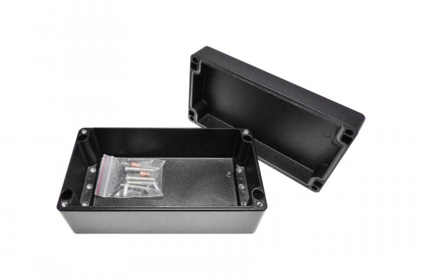 Aluminium-Druckguss-Gehäuse efabox 220x120x91mm IP69K Silikondichtung RAL9005 Schwarz