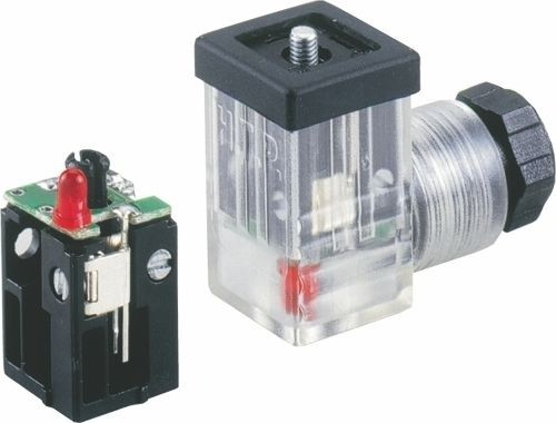 Ventilstecker Bauform C (8mm) Höhe 26mm 2+PE mit Varistor + LED Rot (bipolar) 24V PG7
