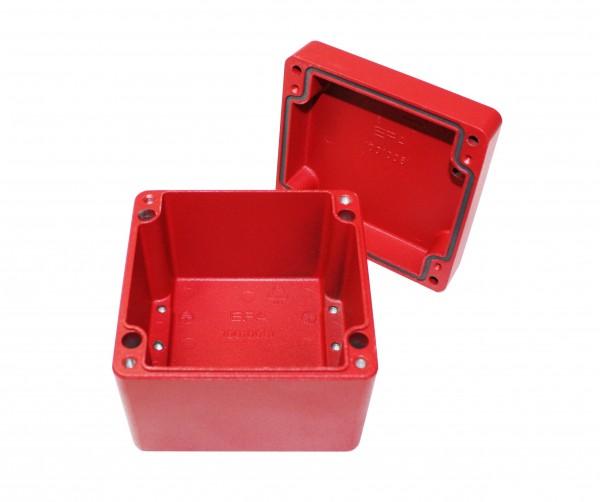 Aluminium-Druckguss-Gehäuse efabox 140x140x91mm IP68 Silikondichtung RAL3001 Rot