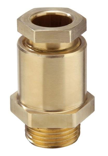 EMV-Kabelverschraubung aus Messing, Dichtring aus EPDM, Messing blank, mit Erdungseinsatz und 6kant Stutzen, KVMS 56-Z35, M56x2, 32 - 35,5 mm